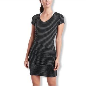 Athleta Central Striped Dress V-neck Black White M